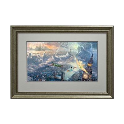 Thomas KinkadeTinkerbell and Peter Pan Fly To Neverland Open Edition Framed Print