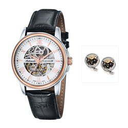 Earnshaw Gents Beagle Swiss Made Swiss Automatic Watch with Embossed Genuine Leather Strap and FREE Earnshaw Cufflinks