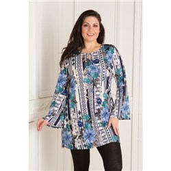 Nouvelle Printed Keyhole Neck Tunic
