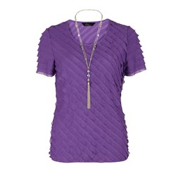Bonmarche Purple Bias Frill Short Sleeve Top and Necklace