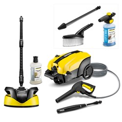 Karcher K4 Silent Pressure Washer - Detergent and T350 Patio Cleaner with FREE Dirtblaster - Ultra Foam Sprayer and Wash Brush