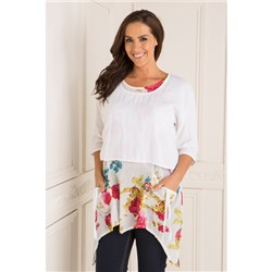 Sugar Crisp 2in 1  Rose Print Linen Top
