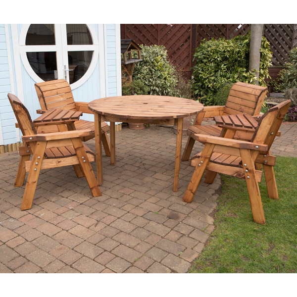 Charles Taylor Circular Table and 4 Chairs with FREE Pair of Detachable Trays No Colour