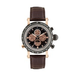 Constantin Weisz Gents Automatic Chronograph Watch with Tachymeter and Genuine Leather Strap