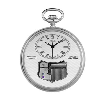 Boegli Palladium Plated Vivaldi Musical Pocket Watch and Stand