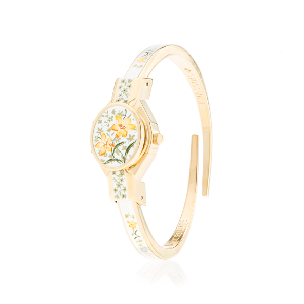 Andre Mouche Ladies Marquise Florali Hand Painted Watch with Stainless Steel Strap No Colour