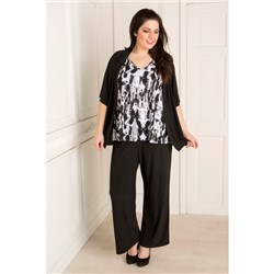 Reflections Plain Kimono - Print Cami and 29inch Trousers