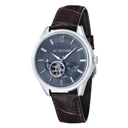 James McCabe Gents Belfast Skeleton Dial Automatic Watch with Genuine Leather Strap