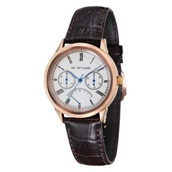 James McCabe Gents Heritage Japanese Quartz Watch with Genuine Leather Strap