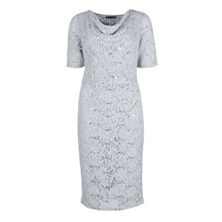 David Emanuel Sequinned Lace Cowl Neck Dress 41in