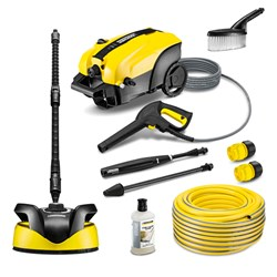 Karcher K4 Silent with Vario Lance - Dirtblaster - Detergent - Wash Brush - T350 Patio Cleaner and 50m Karcher 3 Ply Hose with Connectors