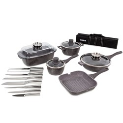 Tower 16 Piece Pro Cerastone Die Cast Pan and Stainless Steel Knife Set