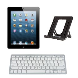 Apple iPad 4 64GB Wi-Fi and 4G with Retina Display - Refurbished as New by Apple with 1 Year Warranty - with Bluetooth Keyboard and Stand