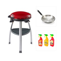 OutBack Trekker BBQ - RED with Outback Stainless Steel Wok and Cleaning Kit