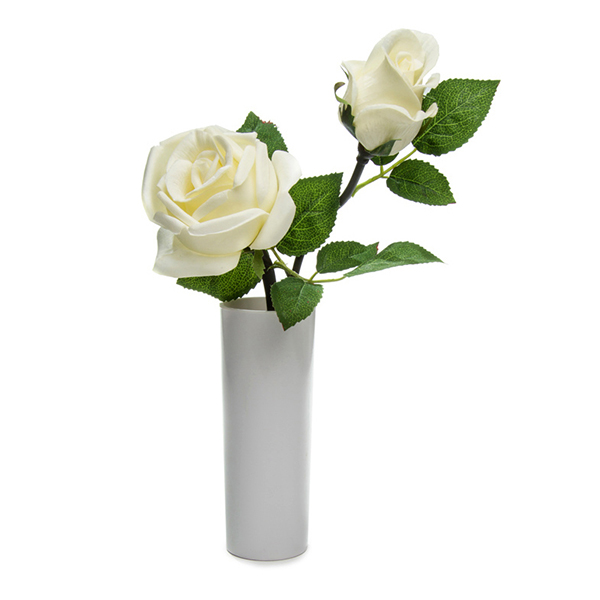 Blossom Collection Potted Rose Plant with 2 LED Lights - (Scented) White