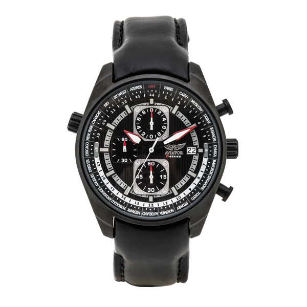 Aviator Gents Chronograph Watch with 24 Hour Indicator and Genuine Leather Strap No Colour