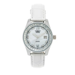 Ladies Aviator Watch with Crystal Bezel and Genuine Leather Strap