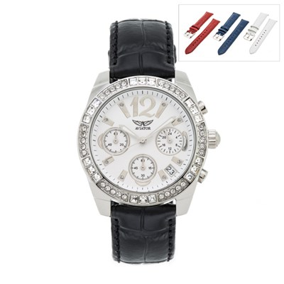Ladies Aviator Quartz Watch with Four Interchangeable Straps