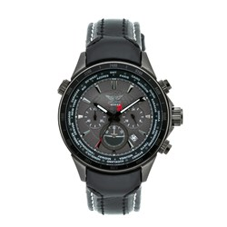 Aviator Gents Quartz Chronograph Watch with Black IPB Case and Genuine Leather Strap with Contrast Stitching