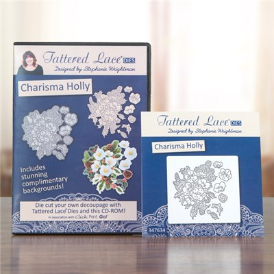 Tattered Lace Charisma Holly Die with Click Print GO CD ROM Multibuy