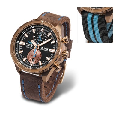 Vostok Europe Gent's Bronze Case Chronograph Almaz Watch with Genuine Leather and Nato Straps