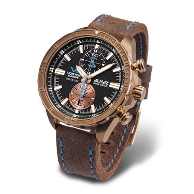 Vostok Europe Gent's Bronze Case Chronograph Almaz Watch with Genuine Leather Strap