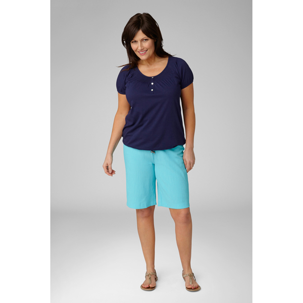 Lavitta Crinkle Textured Shorts 10in Turquoise