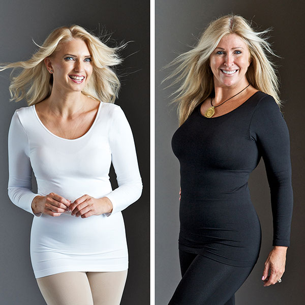 Bella Bodies Twin Pack Long Sleeve Camyz with Reversible Neckline Black/White