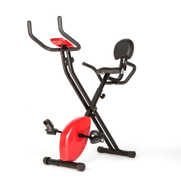 Comfort Plus Folding Exercise Bike with Back Rest and Digital Display Red