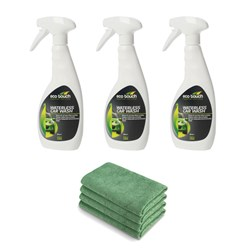 3 x 500ml Eco Touch Waterless Car Wash with 4 x High Grade Microfibre Cloths