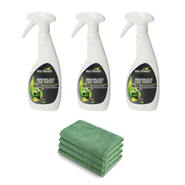 3 x 500ml Eco Touch Waterless Car Wash with 4 x High Grade Microfibre Cloths No Colour