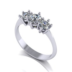 Moissanite Platinum 1.00ct eq Trilogy Ring