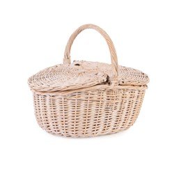 NEAT White Wash Oval Picnic Basket