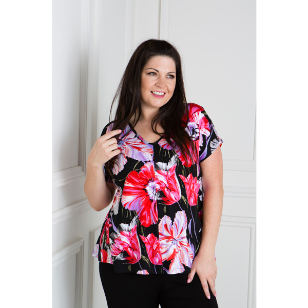 Reflections Floral V-Neck Drop Shoulder Top Red/Black Floral
