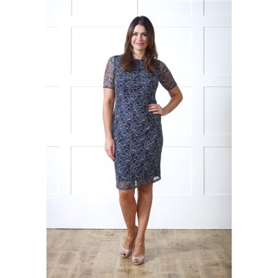 Lavitta Navy Lace Side Gather Dress 40in