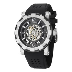 Stuhrling Gents Legacy Skeleton Dial Watch with Silicon Buckle Strap