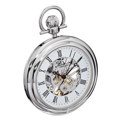 Stuhrling Gents Symphony Pocket Watch with Stainless Steel Case and Pocket Chain