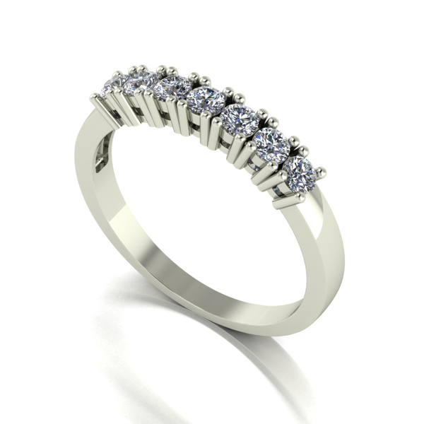 Moissanite 9ct Gold 0.50ct eq 7 Stone Ring White Gold