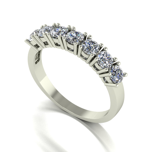 Moissanite 9ct Gold 1.00ct eq 7 Stone Ring White Gold