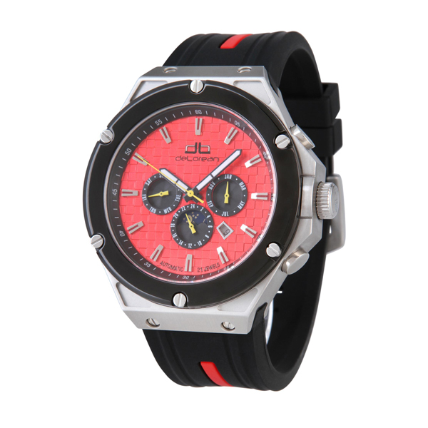 DeLorean Gents Limited Edition Automatic Racer Watch with Stainless Steel Case and Black Silicon Strap Red/Silver