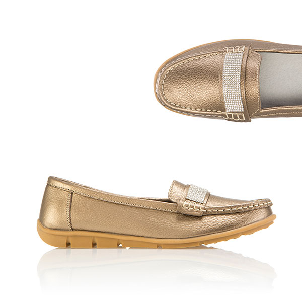 Cushion Walk Comfort Diamante Leather Loafer Bronze
