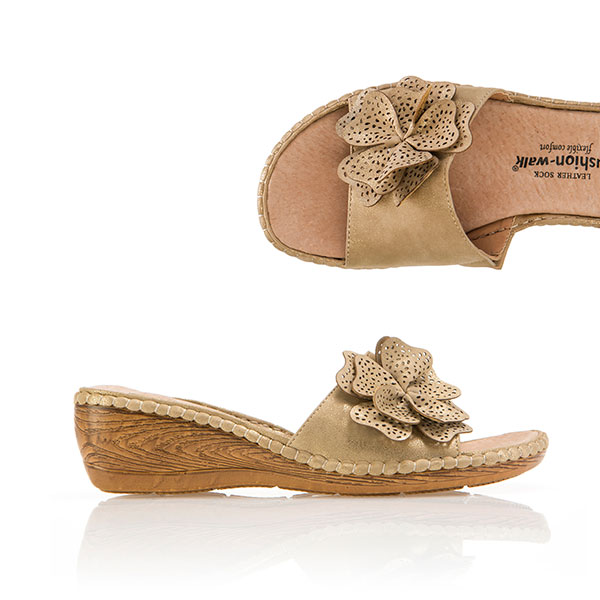 Cushion Walk Comfort Floral Mule Gold