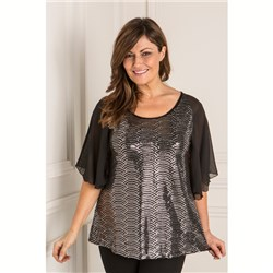 Nicole Angel Sleeve Sequin Top