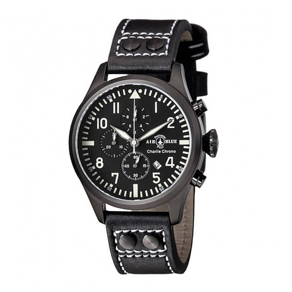 Air Blue Gents Charlie Chronograph Watch with Genuine Leather Strap Black