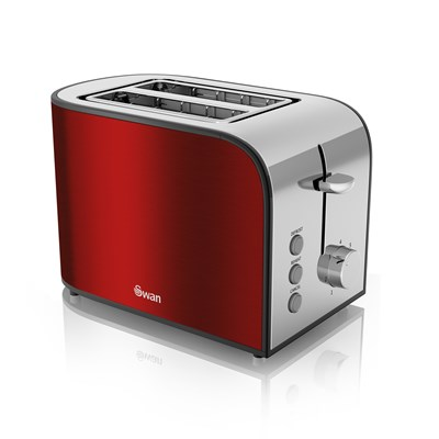 Swan 2 Slice Red Toaster - Red