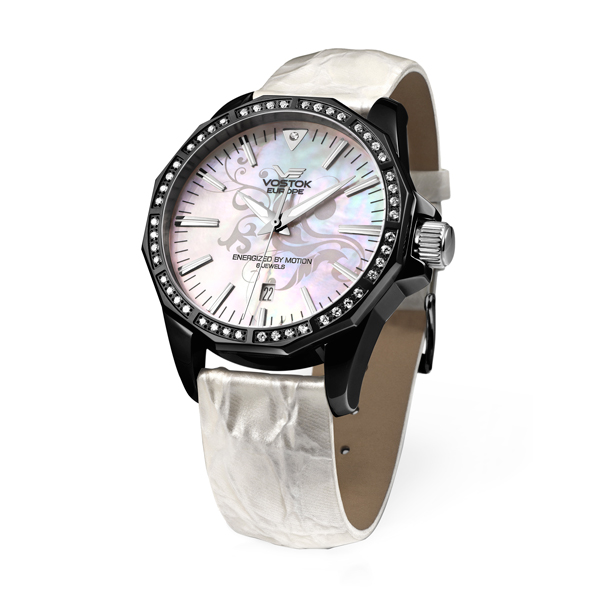 Vostok Europe Ladies N1 Rocket YT57 Automatic Movement Watch with Mother of Pearl Dial and Three Interchangeable Straps White