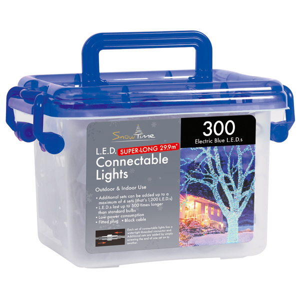 Tub of 300 Connectable Outdoor LED Lights Blue