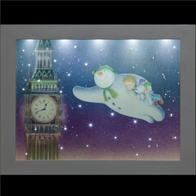 Snowman, Billy and the Snowdog Flying Round Big Ben - 23 x 18cm Picture