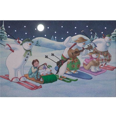 Snowman and Friends Skiing Race - 30 x 20cm LED Wall Canvas