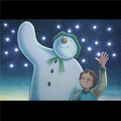 The Snowman and Billy Waving Illuminated Canvas with Timer - 30 x 20cm